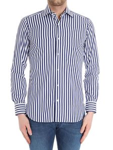 Barba - White and blue striped stick shirt