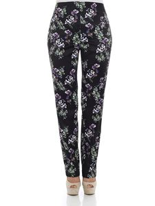 Blumarine - Black trousers with floral print