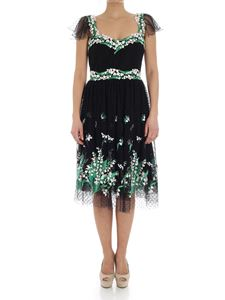 Blumarine - Black dress with floral embroideries