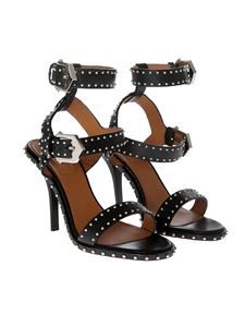Givenchy - Black leather sandals with studs
