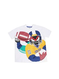 Fendi Jr - White T-shirt with football monster print