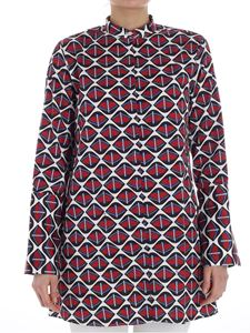 Fay - Black, red and blue Optical printed shirt