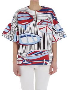 Fay - Boats print top with flared sleeves