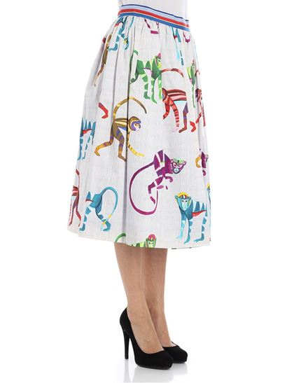 9399bc8cff3 Stella Jean Spring Summer 2018 pleated skirt with monkey print - J G ...