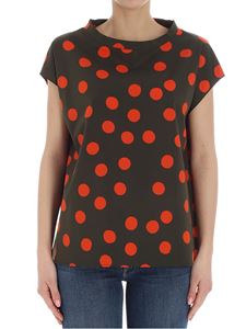 Aspesi - Army green top with red polka dots