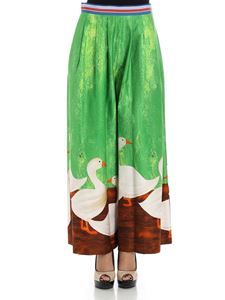 Stella Jean - Green palazzo pants with geese print