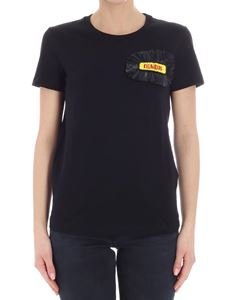 Dondup - Black t-shirt with fringes and beads