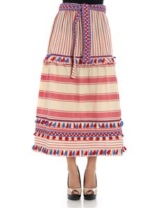 DODO BAR OR - Red and beige striped skirt
