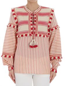 DODO BAR OR - Red and ecru striped blouse