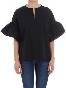 Fay - Black blouse with flared sleeves