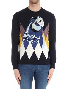 Ballantyne - Blue sweater with cacatua embroidery