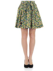 MSGM - Floral pleated skirt