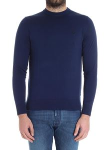 Fred Perry - Blue sweater with logo embroidery