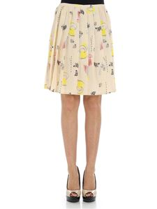 Manila Grace - Ivory colored skirt with multicolor prints