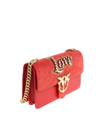Red Leather Crystak shoulder bag Pinko eMfL8