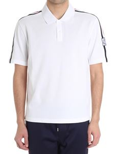 Moncler - White polo with knitted inserts