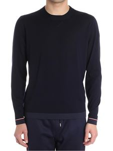 Moncler - Blue sweater with elastic edges