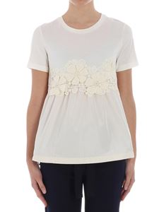 Moncler - T-shirt panna con inserto in pizzo