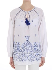 Ermanno by Ermanno Scervino - White blouse with blue embroidery