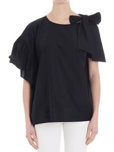KI6? Who are you? - Black one-shoulder blouse with bow