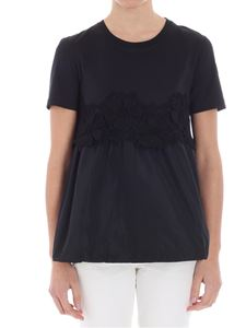 Moncler - Black t-shirt with lace insert
