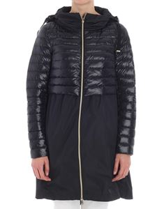 Herno - Black flared coat with down insert
