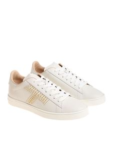 Tod's - White sneakers with golden studs