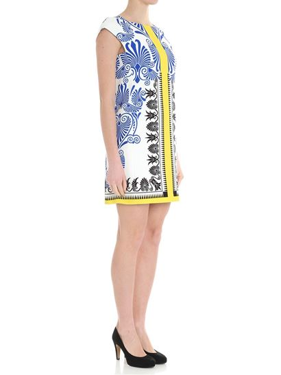 Clearance Wide Range Of Clearance New Styles White geometric patterned dress Versace Collection Professional For Sale Clearance Footaction Cheap Sale Deals OvOhjJPQ
