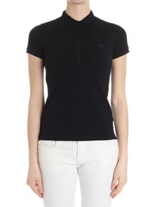 Sun 68 - Black polo with rhinestones