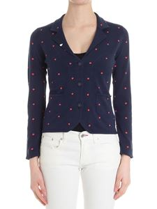 Sun 68 - Blue cardigan with embroidered polka dots