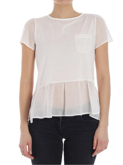 Cream flounce t-shirt Emporio Armani Cheap Sale With Paypal Clearance Official Site Recommend Cheap Online Cheap Prices Sale Countdown Package TfLa0W