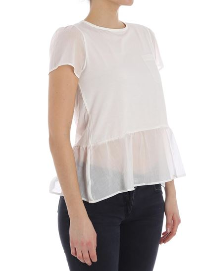 Outlet Marketable Cream flounce t-shirt Emporio Armani For Sale Footlocker Sale For Cheap Outlet Online 5SgZARAaW