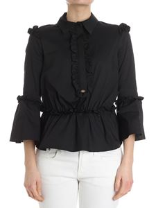 Elisabetta Franchi - Black blouse with ruffles