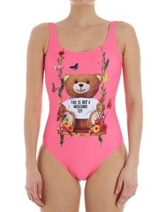 Moschino - Neon-pink swismsuit with Teddy bear print