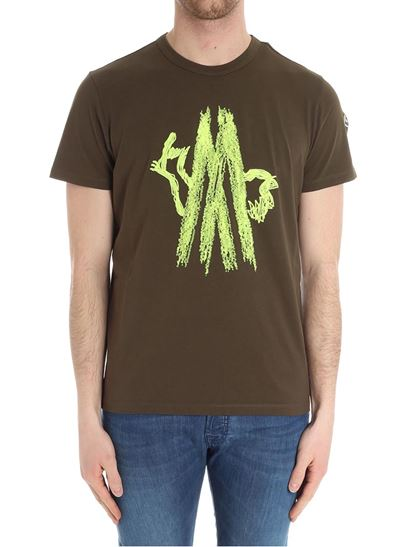 Cotton T-shirt Color: army green Lime-colored front embroidery Logo detail on