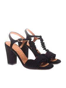 Chie Mihara - Black sandals with ruffles