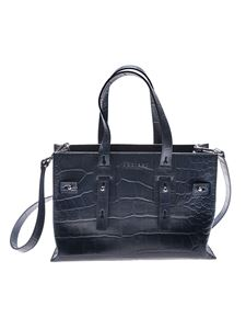 Orciani - Blue cocco effect leather bag