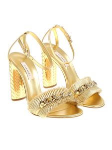 Casadei - Golden sandals with chain