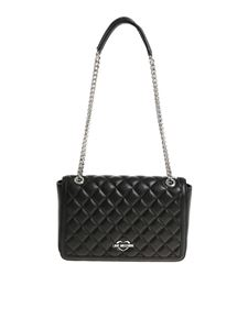 Love Moschino - Black quilted shoulder bag with silver chain