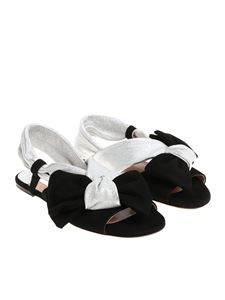 L'Autre Chose - Black and silver sandals with bow
