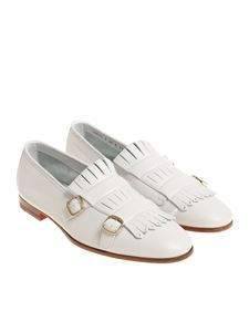 Santoni - White hammered leather shoes