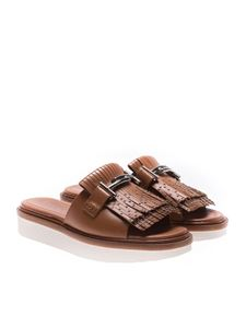 Tod's - Brown sandals with fringes and studs
