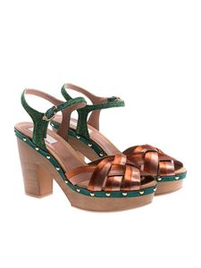 L'Autre Chose - Satin and glittered leather sandals