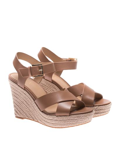 e18fd4a0f9 Michael Kors Spring Summer 2018 brown kady wedge sandals ...