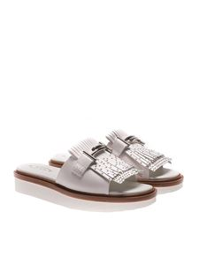 Tod's - White sandals with fringes and studs