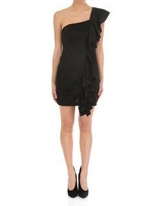 Dondup - Black one-shoulder dress with ruffles