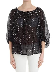 Blumarine - Black blouse with pink embroidery