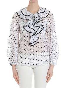 Blumarine - White blouse with embroidered polka dots