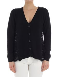 MY TWIN Twinset - Black knitted cardigan with lace