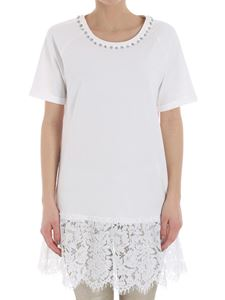 MY TWIN Twinset - White t-shirt with lace insert